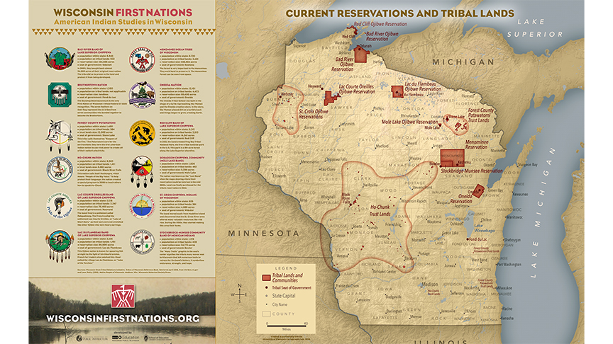 A map of tribal lands in Wisconsin.