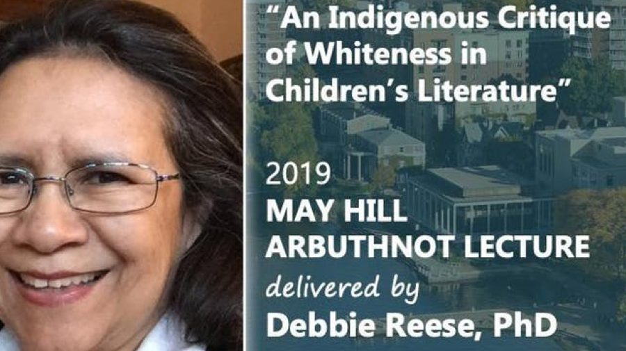 "An image of Dr.Debbie Reese. Next to the image is the title ""An Indigenous Critique of Whiteness in Children's Literature."" Under the title is says 2019 Mayhill Arbuthnot Lecture delivered by Dr. Debbie reese."
