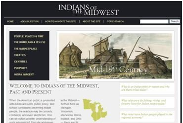 A screenshot of the homepage of Indianans of the Midwest.