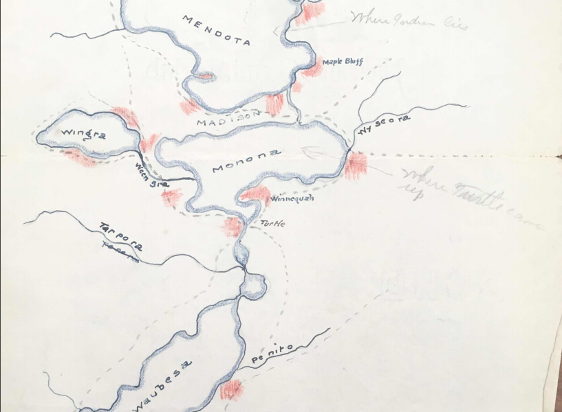 vintage map of the lakes in and around Madison